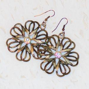 Jewelry - Brass metal flower and crystal earrings